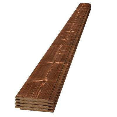 1 in. x 6 in. x 8 ft. Canyon Brown Charred Wood Pine Shiplap Board(4-Pack)