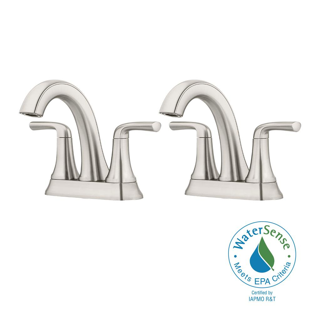 Ladera 4 in. Centerset 2-Handle Bathroom Faucet in Spot Defense Brushed