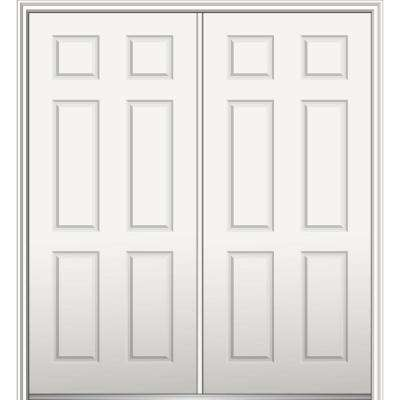 64 in. x 80 in. Right-Hand Inswing Classic 6-Panel Primed Steel Prehung Front Door with Brickmould