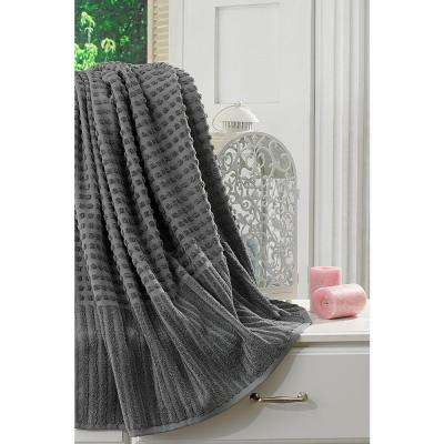 Pure Turkish Cotton Collection 27 in. W x 55 in. H Luxury Bath Towel in Gray