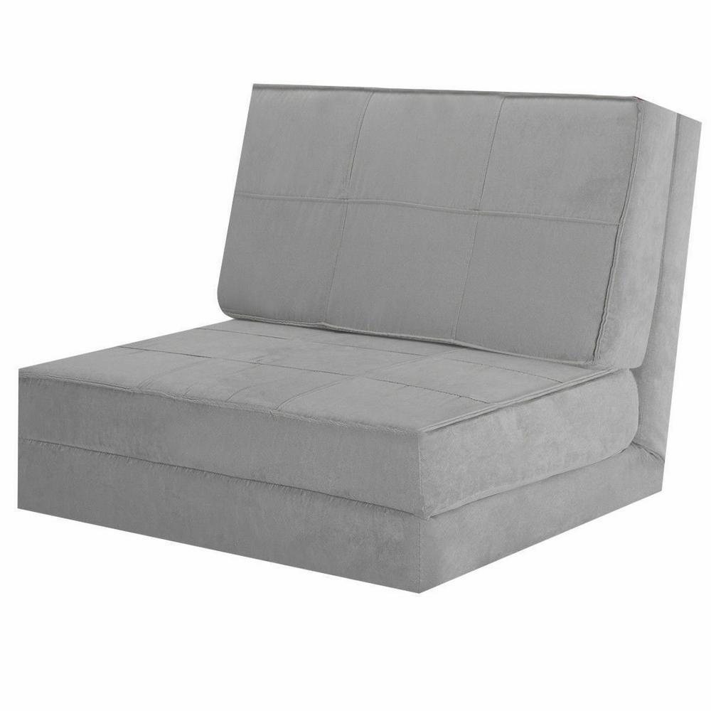 30 in. Gray Cotton Full Sleeper Convertible Fold-Down Sofa Chair