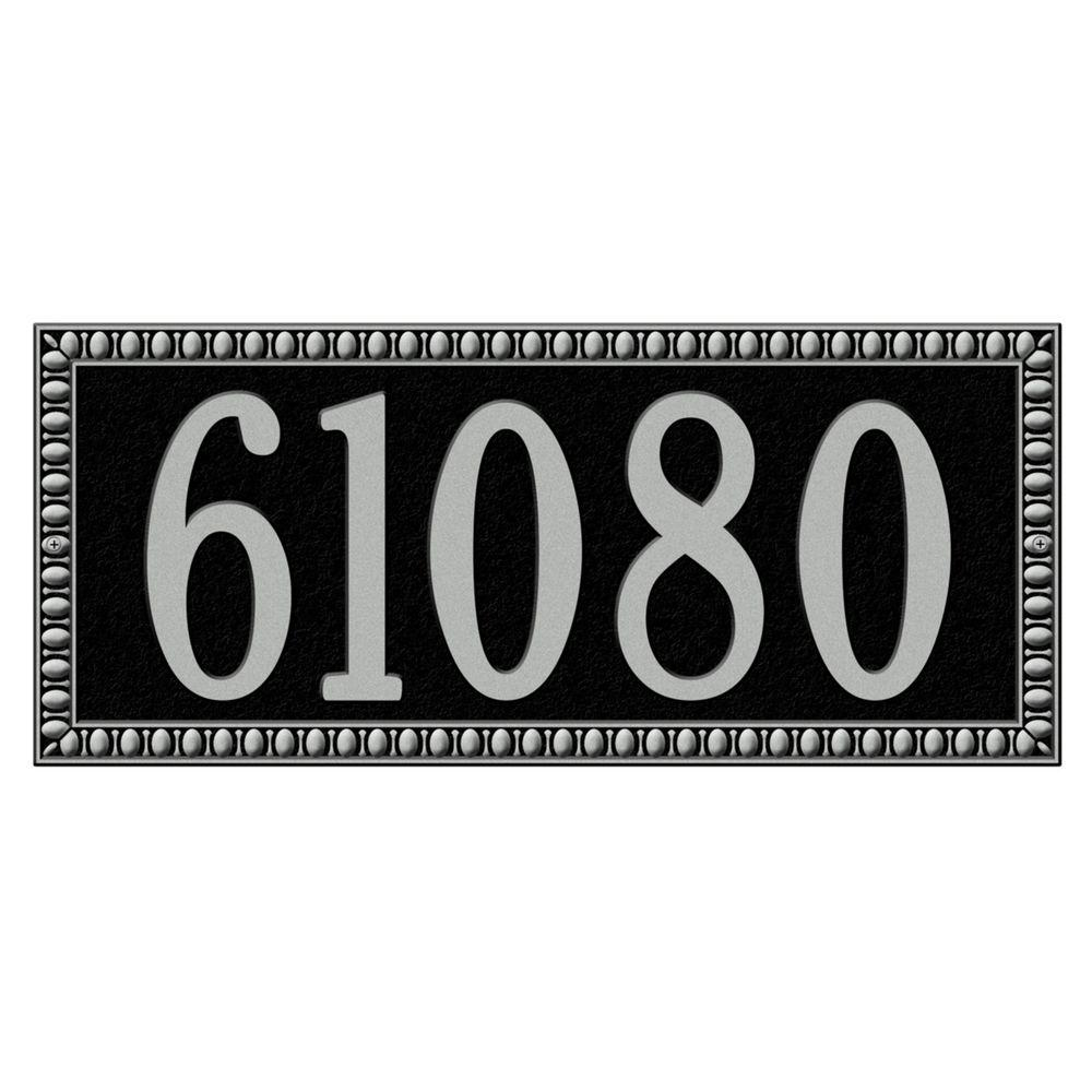 Whitehall Products Egg and Dart Rectangular Black/Silver Estate Wall One Line Address Plaque