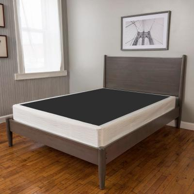 Quick Assembly Wood Foundation with Cover Queen-Size 8 in. Regular Profile Mattress Foundation : Replacement Box Spring