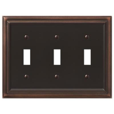 Continental 3 Gang Toggle Metal Wall Plate - Aged Bronze