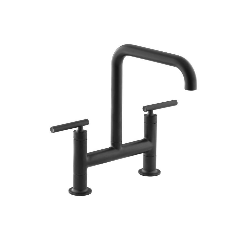 KOHLER Purist 2-Handle Bridge Kitchen Faucet in Matte Black-K-7547-4 ...