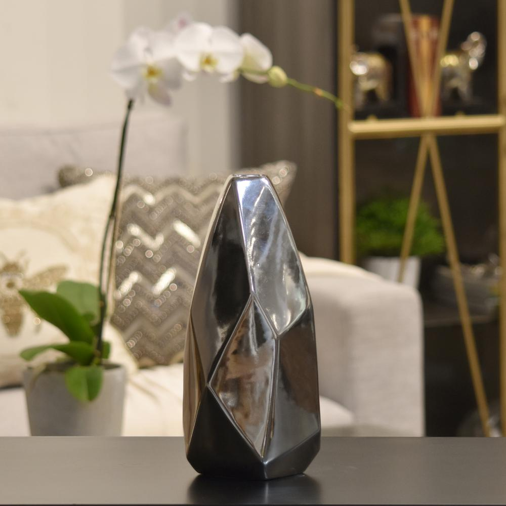 Silver Polished Chrome Ceramic Decorative Vase