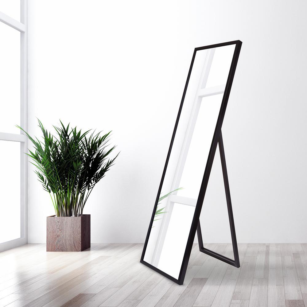 Bainbri Adjustable Rectangular Black Floor Mirror