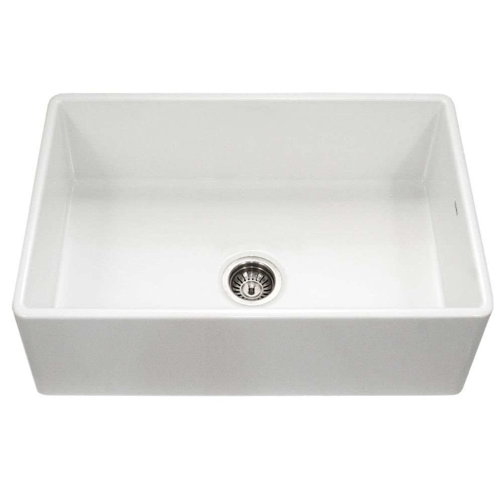 Platus Series Farmhouse Apron Front Fireclay 33 in. Single Bowl Kitchen Sink in White