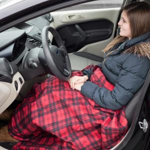 Stalwart-Red Plaid Polyester Electric Throw Blanket