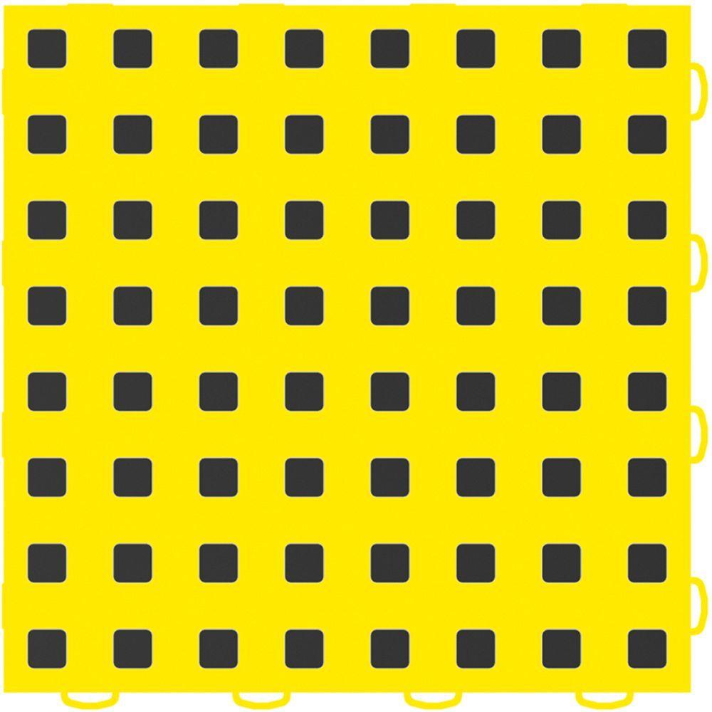 WeatherTech TechFloor 12 in. x 12 in. Yellow/Black Vinyl Flooring Tiles (Quantity of 10)