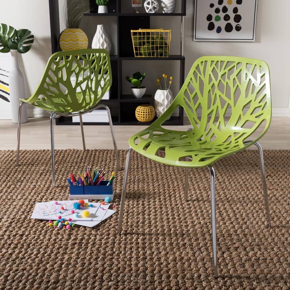 Baxton Studio Birch Sapling Green Plastic Dining Chairs (Set of 2)