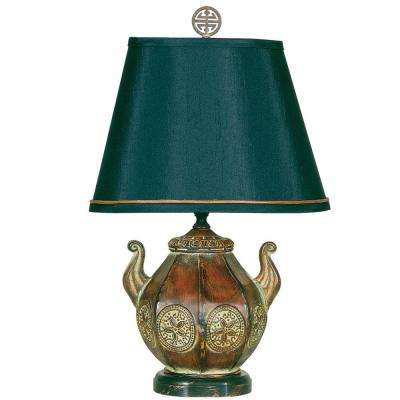 16.5 in. Gold and Bronzed Pot Accent Lamp