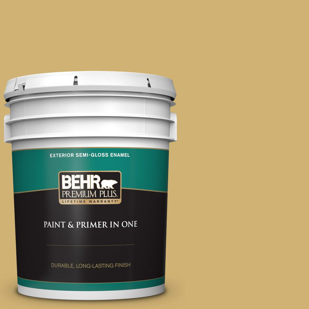 Behr Premium Plus 5 Gal M320 5 Dried Chamomile Semi Gloss Enamel Exterior Paint And Primer In One 540005 The Home Depot