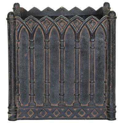 16 in. Square Charcoal Cast Stone Column Planter