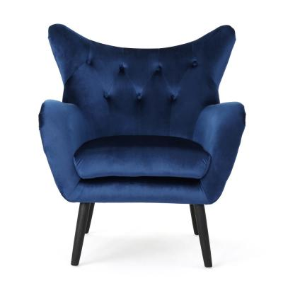 Seigfried Navy Blue and Black Upholstered Arm Chair