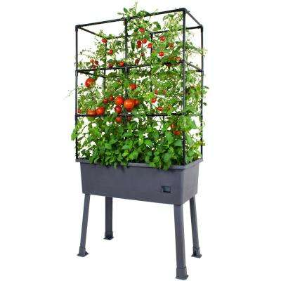 Patio Ideas - 15.75 in. x 31.5 in. x 63 in. Self-Watering Elevated Plastic Planter with Trellis and Greenhouse Cover
