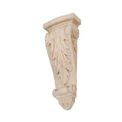 11-1/4 in. x 4-3/8 in. x 2-1/4 in. Unfinished Hand Carved North American Solid Hard Maple Acanthus Leaf Wood Corbel