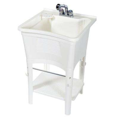 Ergo Tub Full Featured Freestanding 24 in. W x 36 in. H Poly Utility / Laundry Tub with Faucet Kit in White