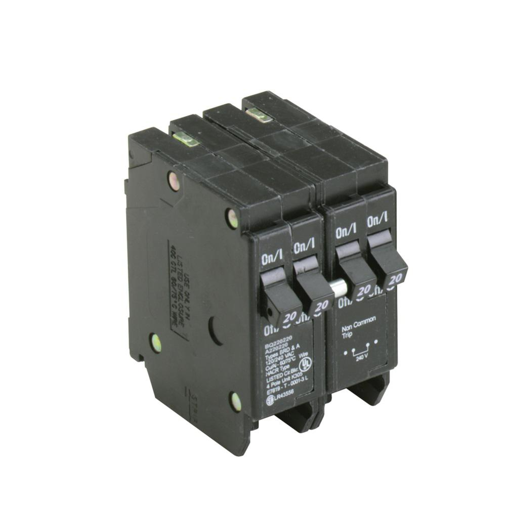 Eaton BR 2-20 Amp 2 Pole BQ (Independent Trip) Quad Circuit Breaker ...