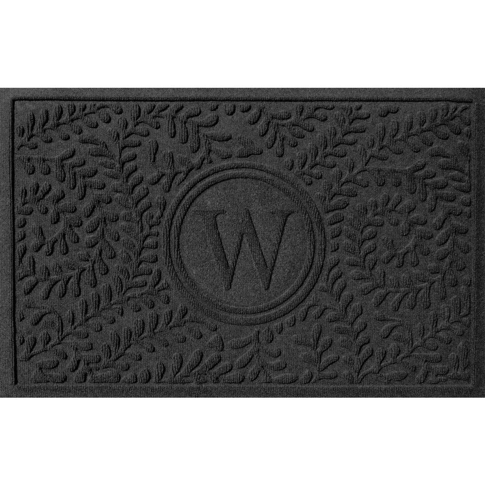 Boxwood Charcoal 24 in. x 36 in. Monogram W Door Mat
