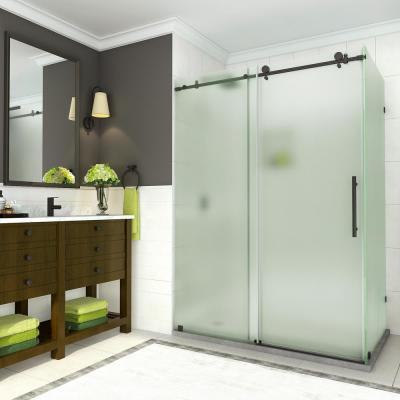 Coraline 56 in. to 60 in. x 33.875 in. x 76 in. Frameless Sliding Shower Door with Frosted Glass in Matte Black