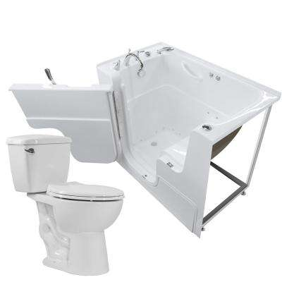 Nova Heated Wheelchair Accessible 53 in. Walk-In Air Bath Tub in White with 1.28 GPF Single Flush Toilet