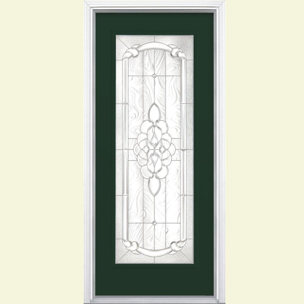 Masonite 36 in. x 80 in. Oakville Full Lite Painted Smooth Fiberglass Prehung Front Door with Brickmold