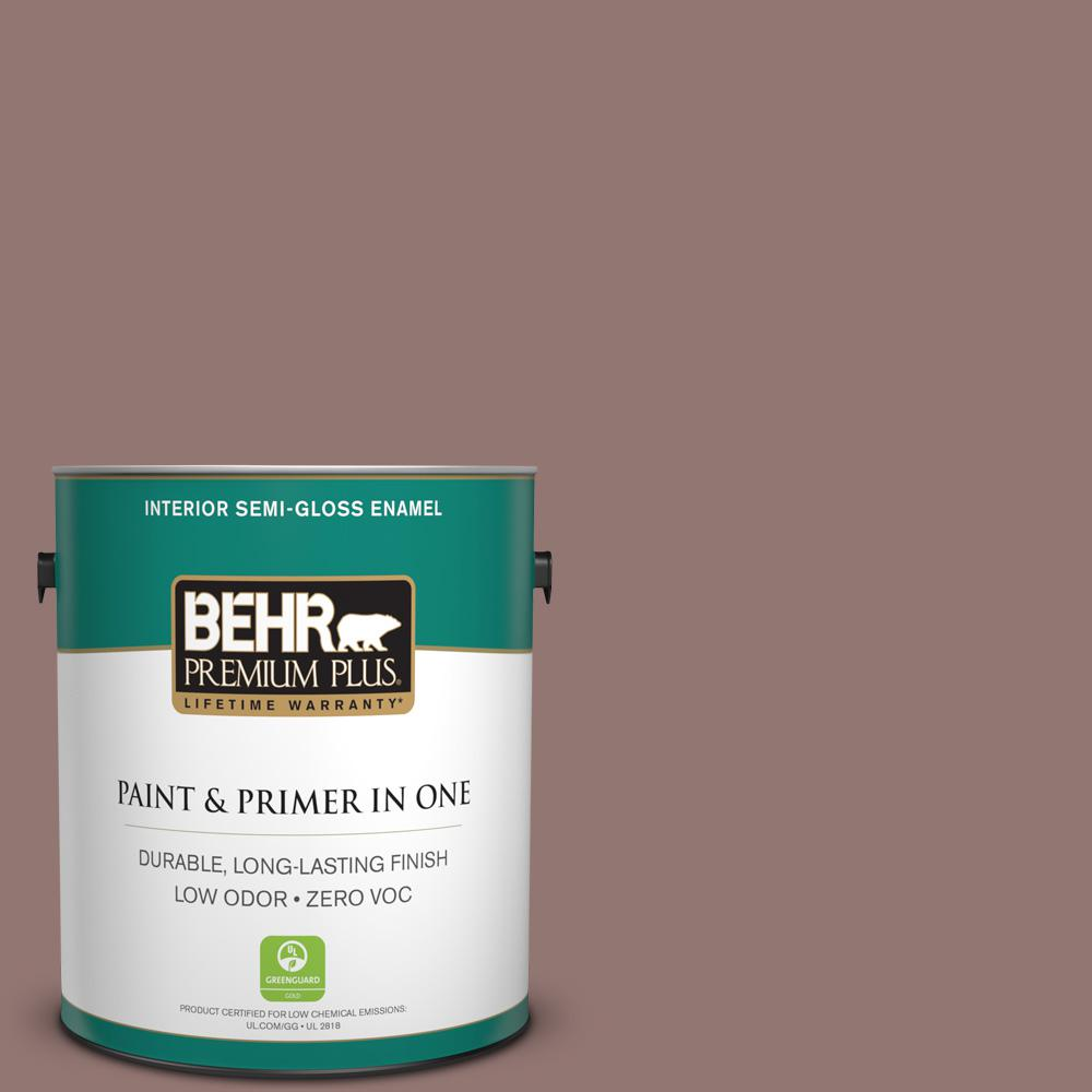 BEHR Premium Plus 1-gal. #710B-5 Milk Chocolate Zero VOC Semi-Gloss Enamel Interior Paint