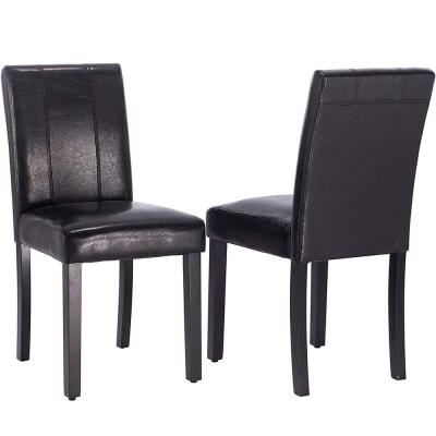 Black PU Leather Upholstered Parsons Dining Chair with Solid Wood Legs (Set of 2)