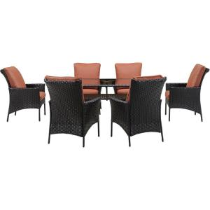Strathmere Allure 7 Piece All Weather Wicker Rectangular Patio Dining Set  With Woodland Rust