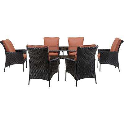 Strathmere Allure 7-Piece All-Weather Wicker Rectangular Patio Dining Set with Woodland Rust Cushions