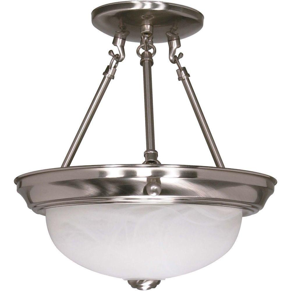 Elektra 2-Light Brushed Nickel Semi-Flush Mount Light with Alabaster Glass