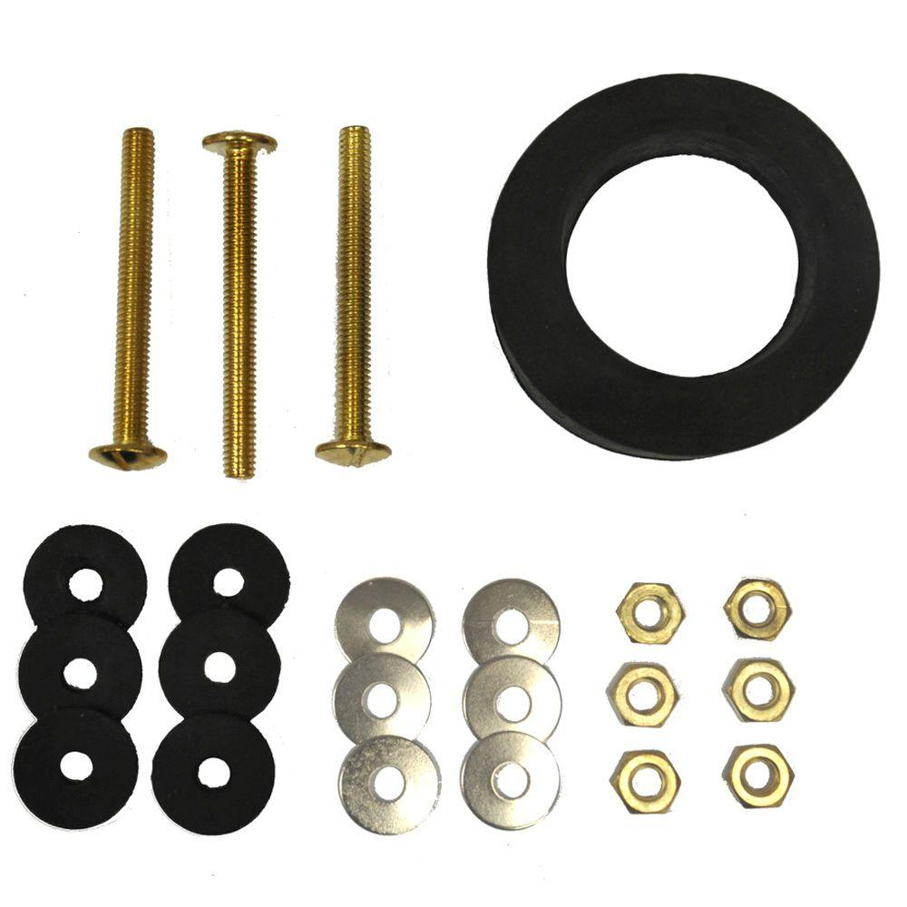 Everbilt Toilet Bolt and Gasket Kit with Three 5/16 in  x 3 in  Bolt Sets