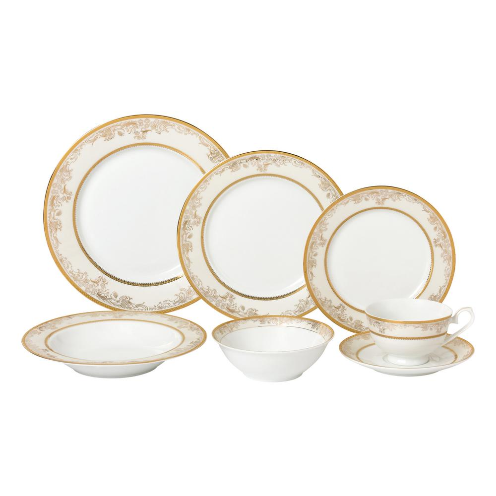 28-Piece Gold Dinnerware Set-New Bone China Service for 4-People-Chloe