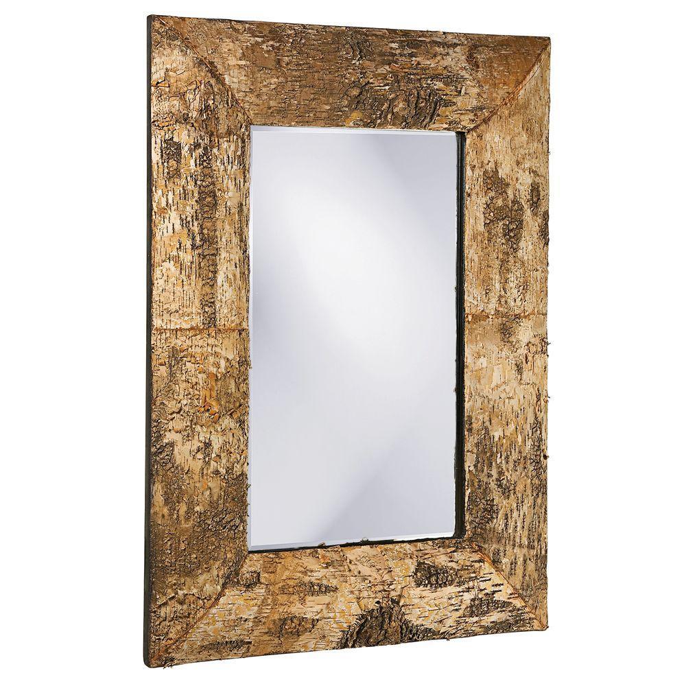 null 36 in. x 26 in. Birch Bark Framed Mirror