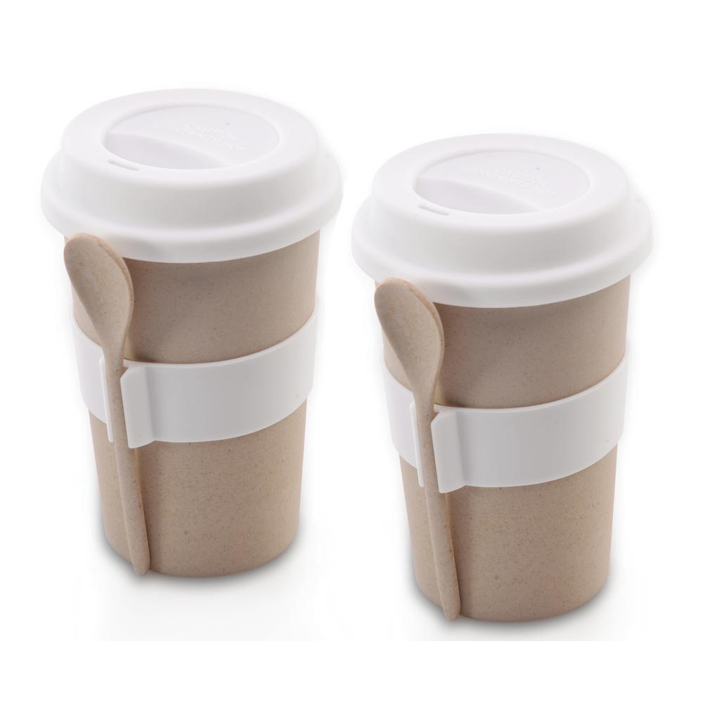 8 oz. CooknCo Cream Coffee Mug with Spoon (Set of 2)