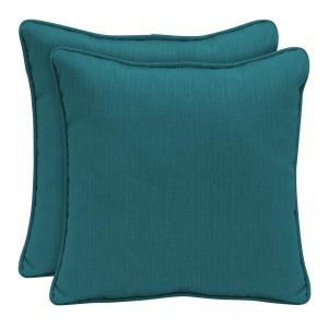 Sunbrella Spectrum Peacock Square Outdoor Throw Pillow (2-Pack)