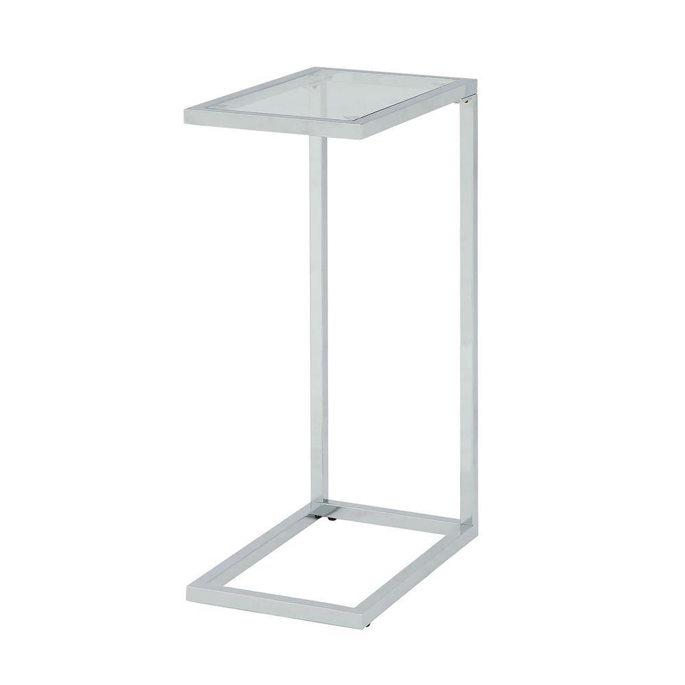 Carolina Cottage Ansley Chrome Glass Top Tray Table