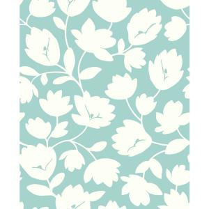 56.4 sq. ft. Astrid Turquoise Floral Wallpaper