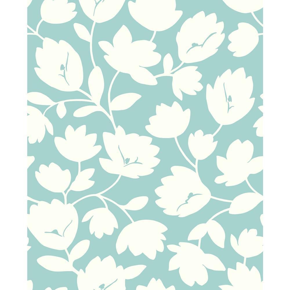 56.4 sq. ft. Matilda Turquoise Floral Wallpaper