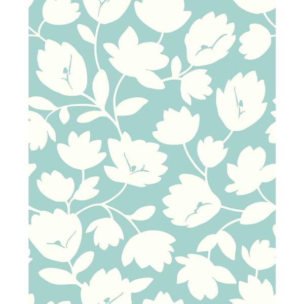 Astrid Turquoise Floral Paper Strippable Roll (Covers 56.4 sq. ft.)