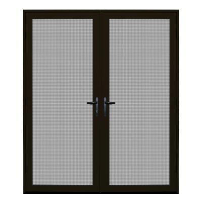 64 in. x 80 in. Bronze Surface Mount Ultimate Security Screen Door with Meshtec Screen