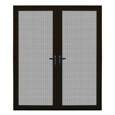 64 in. x 80 in. Bronze Recessed Mount Ultimate Security Screen Door with Meshtec Screen