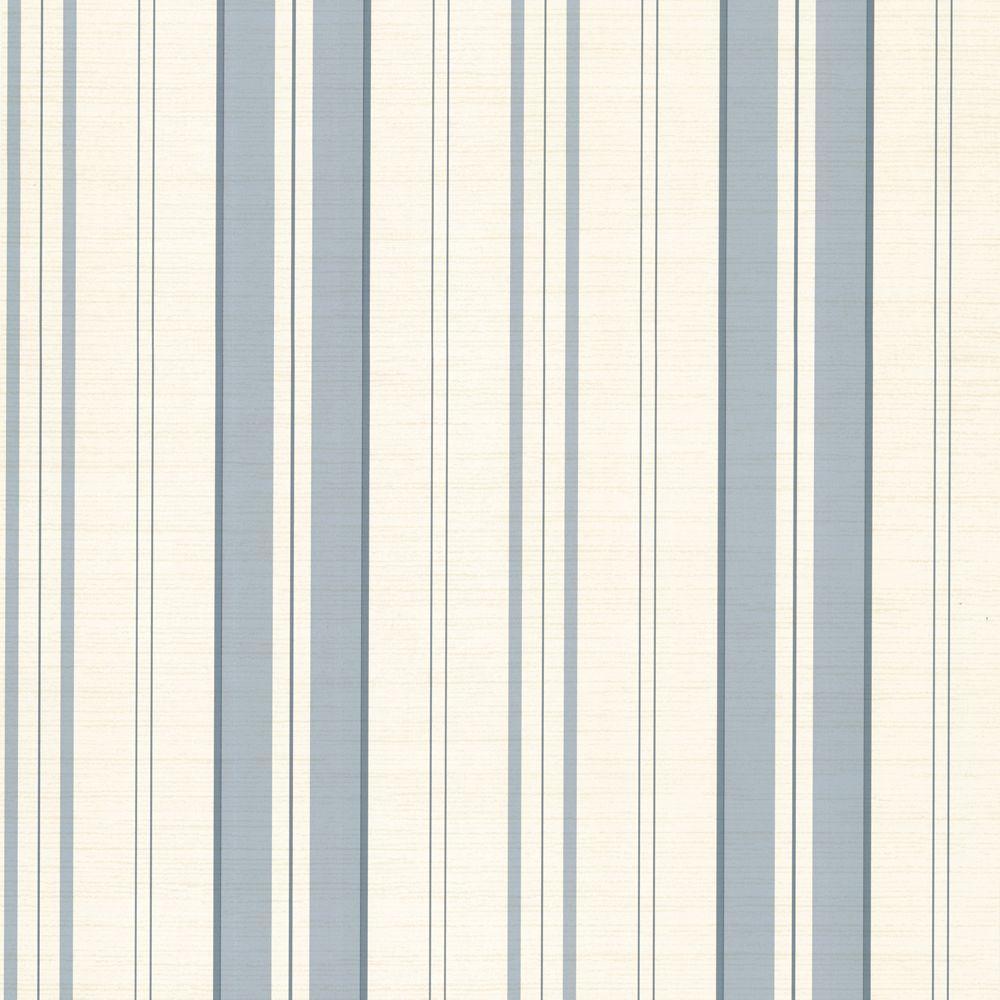 The Wallpaper Company 56 sq. ft. Blue Pastel Linen Multi Stripe Wallpaper-DISCONTINUED