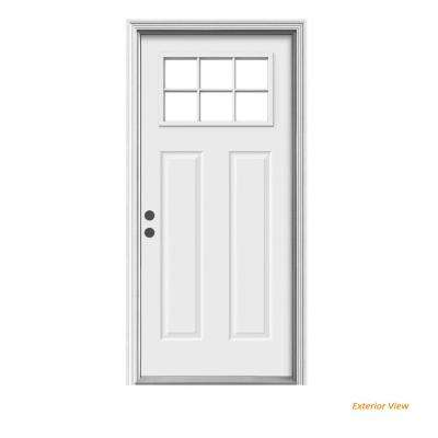 36 in. x 80 in. Craftsman Primed Right-Hand Inswing 6 Lite Clear Steel Prehung Front Door w/Brickmould
