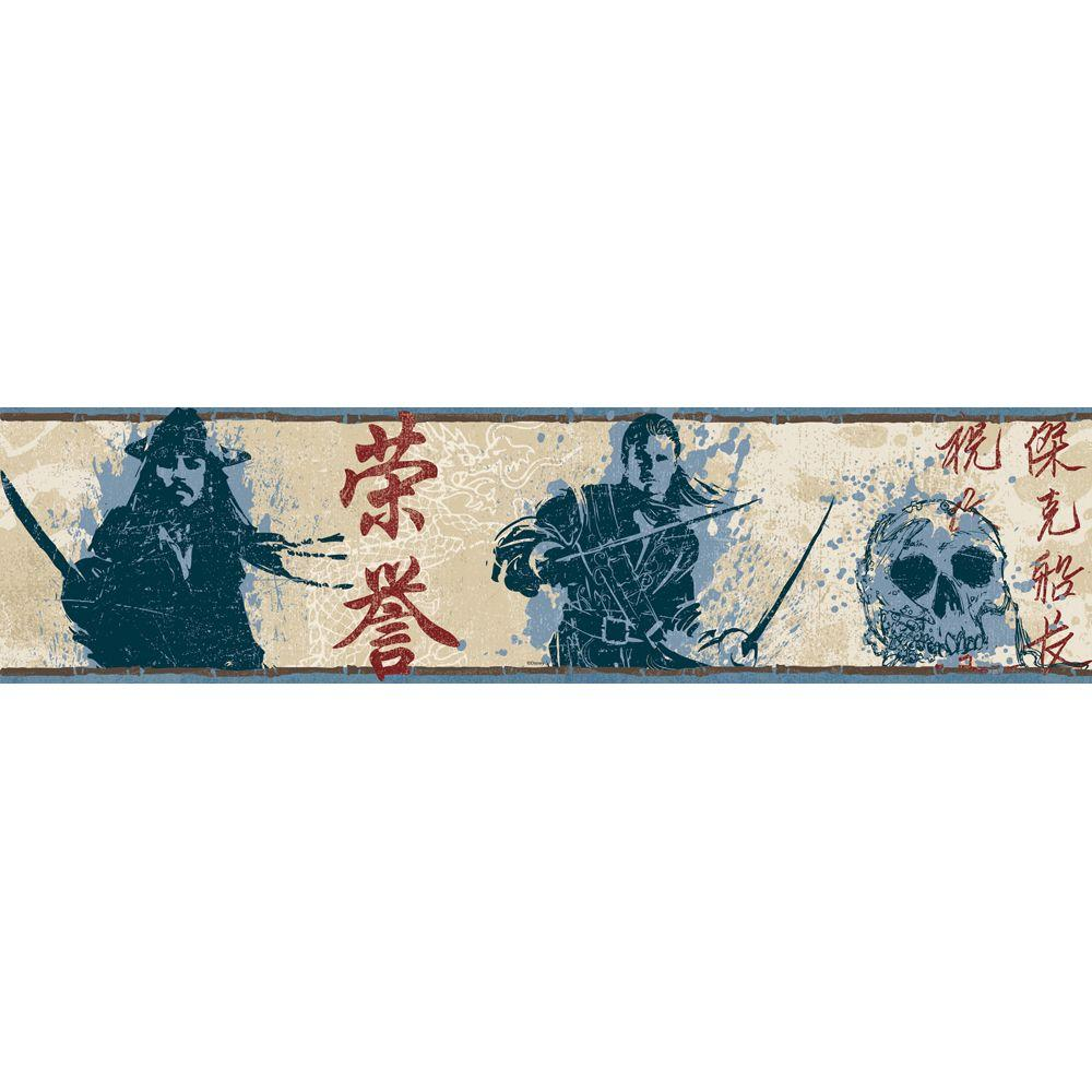 Disney 6.88 in. H x 12 in. L Blue Pirates of The Caribbean 3 Border Sample-DISCONTINUED