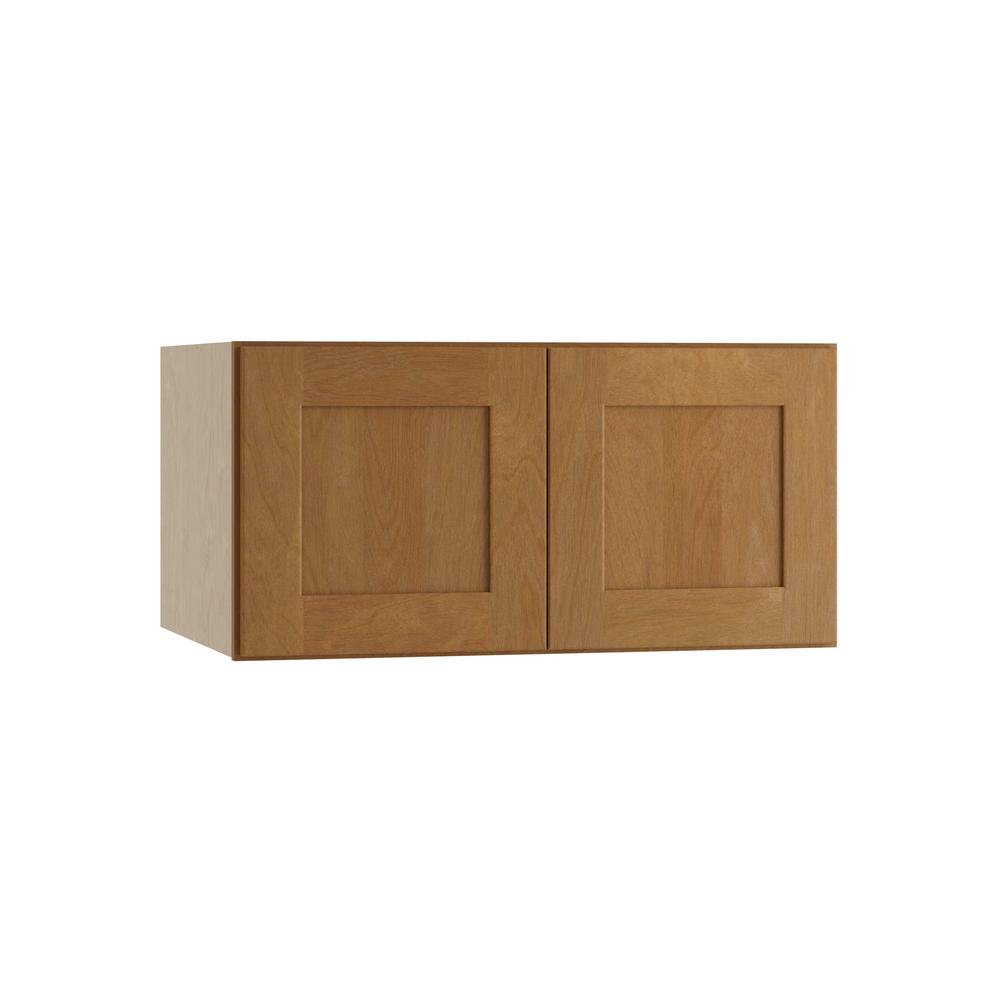 Home Decorators Collection Hargrove Assembled 30x15x24 in. Double Door Wall Kitchen Cabinet in Cinnamon