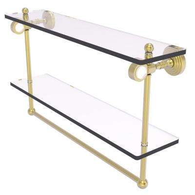 Pacific Grove 22 in. Double Glass Shelf with Towel Bar in Satin Brass