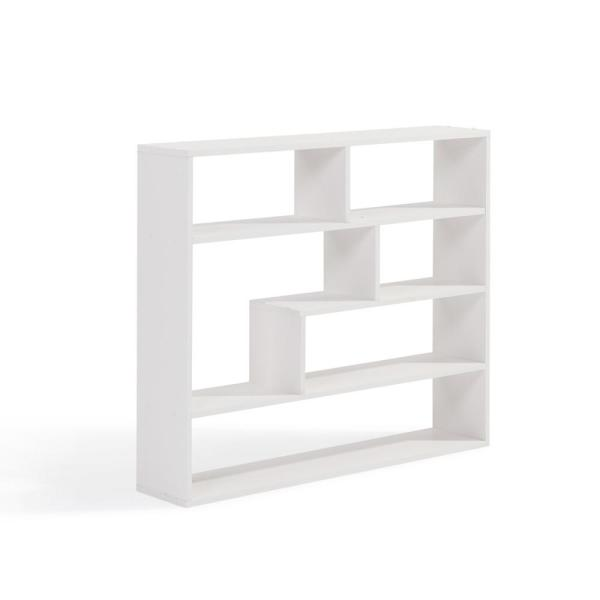 DANYA B 37 in. x 32 in. White Laminated Rectangular Floating Wall Shelf