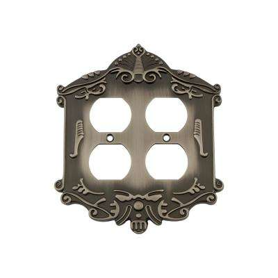 Victorian Switch Plate with Double Outlet in Antique Pewter